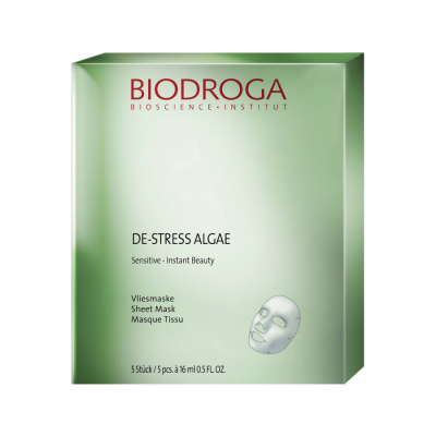 de-stress algae sheet masks package by biodroga skin systems