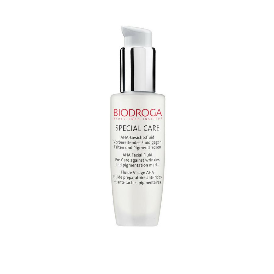 Biodroga AHA Facial Pre-Care Fluid is a highly concentrated fluid that dissolves dead skin cells, activates skin regeneration and reduces small lines and wrinkles.